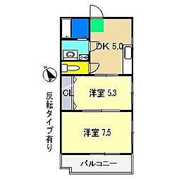 メロディハイム愛宕山[1階]の間取り