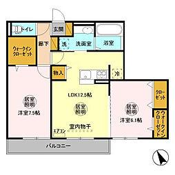 D-room大野原中央 A[2階]の間取り