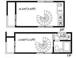 東急東横線 学芸大学駅 徒歩12分の賃貸マンション 1階1DKの間取り