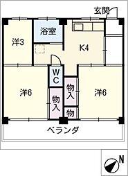 ビレッジハウス富木島 3号棟[4階]の間取り