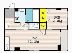 サンフォレスタ西古松 2階1LDKの間取り