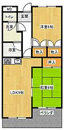ヴァンヴェール赤坂[402号室]の間取り