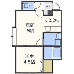 札幌市営東西線 西11丁目駅 徒歩7分の賃貸アパート 3階1LDKの間取り