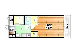 キャッスル山村 B棟[3階]の間取り