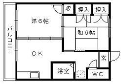 ハイツカミムラ[105号室]の間取り