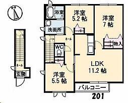 広島県福山市南本庄3丁目の賃貸アパートの間取り