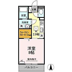 岡山電気軌道清輝橋線 清輝橋駅 徒歩34分の賃貸アパート 1階1Kの間取り