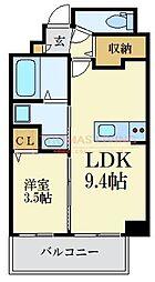 福岡市地下鉄七隈線 薬院大通駅 徒歩7分の賃貸マンション 3階1LDKの間取り