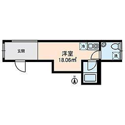 コスティック三ノ輪 4階ワンルームの間取り