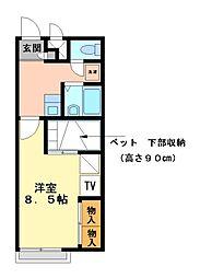 兵庫県明石市魚住町住吉3丁目の賃貸アパートの間取り