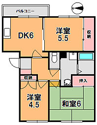 奈良県奈良市大安寺2丁目の賃貸マンションの間取り