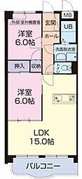 ISOGAIグランドエイワンA[2階]の間取り