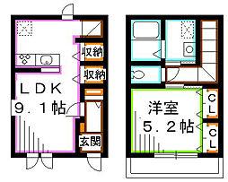 JR総武線 三鷹駅 徒歩21分の賃貸一戸建て 1LDKの間取り
