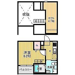愛知県名古屋市中川区畑田町3の賃貸アパートの間取り