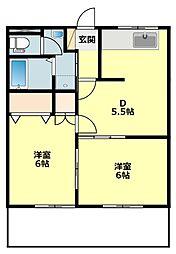 愛知県岡崎市上和田町字切戸の賃貸アパートの間取り