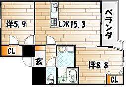福岡県北九州市小倉南区葛原本町4丁目の賃貸マンションの間取り