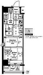 都営大江戸線 門前仲町駅 徒歩5分の賃貸マンション 11階1DKの間取り