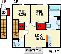 Grand Soleil B棟 2階2LDKの間取り