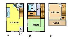 [テラスハウス] 埼玉県さいたま市中央区上落合3丁目 の賃貸【/】の間取り