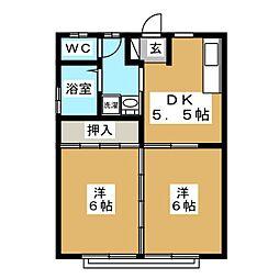コーポレンボー[2階]の間取り
