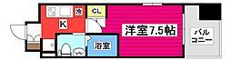 レジディア仙台上杉 8階1Kの間取り