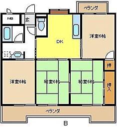 愛知県名古屋市緑区鳴海町字横吹の賃貸マンションの間取り