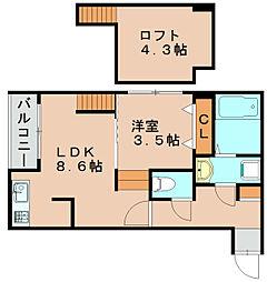 EXA福岡吉塚[2階]の間取り