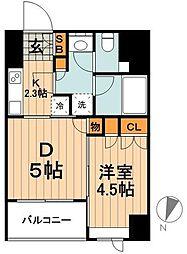 東京メトロ銀座線 神田駅 徒歩2分の賃貸マンション 4階1DKの間取り