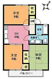 埼玉県上尾市中妻4丁目の賃貸アパートの間取り