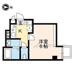 JR山陰本線 梅小路京都西駅 徒歩6分の賃貸マンション 5階1Kの間取り