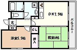 兵庫県芦屋市精道町の賃貸マンションの間取り