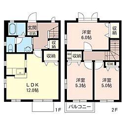埼玉県草加市谷塚2丁目の賃貸アパートの間取り