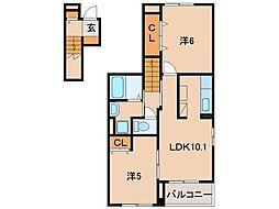 和歌山県和歌山市手平3丁目の賃貸アパートの間取り