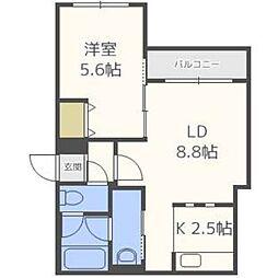 北海道札幌市中央区北四条西26丁目の賃貸マンションの間取り