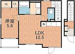 大阪府大阪市阿倍野区松虫通1丁目の賃貸アパートの間取り
