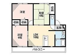 エスポワール飯野中央(アパート) 2階3LDKの間取り