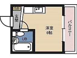野江2番館 4階ワンルームの間取り