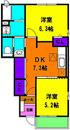 静岡県浜松市浜北区上善地の賃貸アパートの間取り
