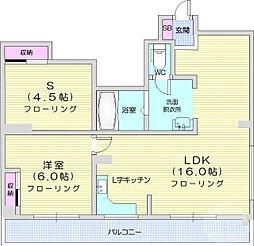 仙台市地下鉄東西線 大町西公園駅 徒歩3分の賃貸マンション 3階2LDKの間取り