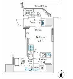 東京メトロ日比谷線 入谷駅 徒歩5分の賃貸マンション 6階1Kの間取り