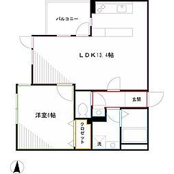 JR中央本線 三鷹駅 徒歩11分の賃貸マンション 2階1LDKの間取り