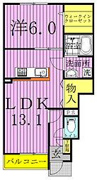 千葉県鎌ケ谷市粟野の賃貸アパートの間取り