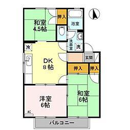 ニューセジュールヤマダ B棟[2階]の間取り