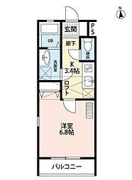 福岡県北九州市小倉南区城野4丁目の賃貸アパートの間取り