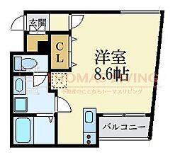福岡市地下鉄空港線 唐人町駅 徒歩5分の賃貸マンション 4階ワンルームの間取り