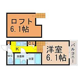 愛知県名古屋市中村区中島町1丁目の賃貸アパートの間取り
