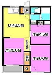 埼玉県新座市片山2丁目の賃貸マンションの間取り
