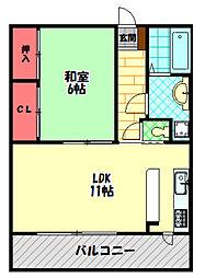 エレリーアNISHIDA 3階1LDKの間取り