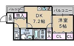 大阪府大阪市西区川口4丁目の賃貸アパートの間取り