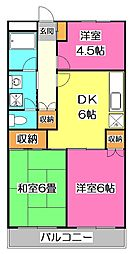 埼玉県所沢市東所沢和田3丁目の賃貸マンションの間取り